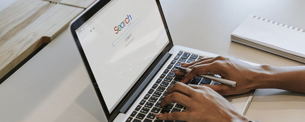 Woman searching on a website